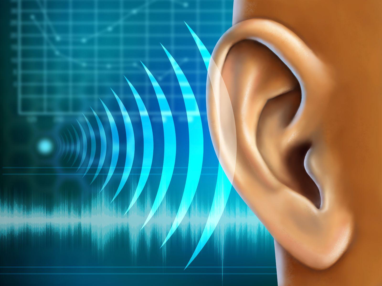 Ilustración de sonido llehando a un oido
