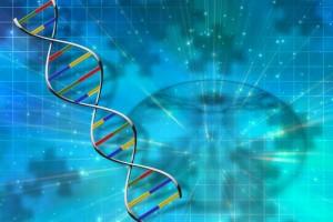 Cadena de ADN en un fondo azul