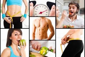Mosaico de imagenes de actividades saludables medirse, pesarse, comer saludablemente