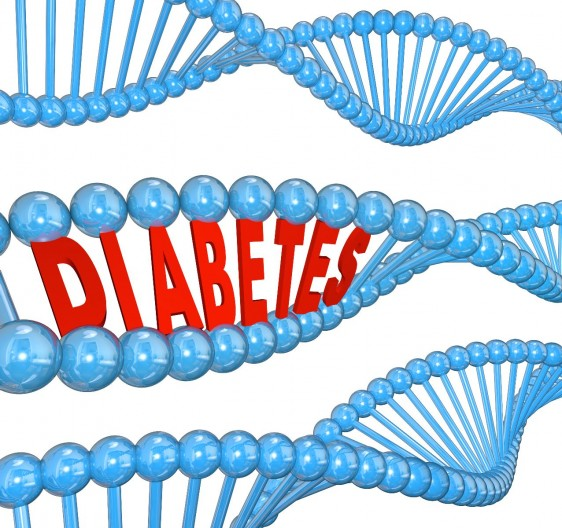 Cadenas de ADN una de ellas lleva en medio la palabra DIABETES