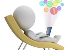 Ilustración 3D de persona relajada usando computadora