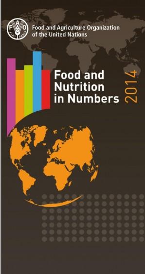 Portada de color cafe con los continentes el mundo en color amarillo y el texto Food and Nutrition in Numbers 2014