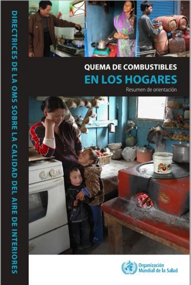 """Portada de """"QUEMA DE COMBUSTIBLES EN LOS HOGARES, Resumen de orientación"""" con imagenes de varios tipos de concinas"""