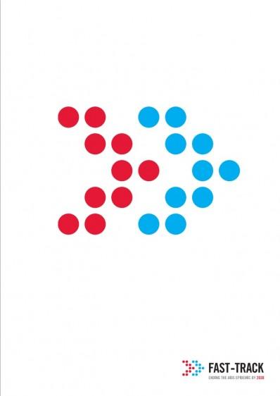 """Portada con ilustración de signo """">>"""" y el texto """"Fast-Track: World AIDS Day Report 2014"""""""