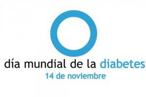 Círculo azul y texto Día Mundial de la Diabetes