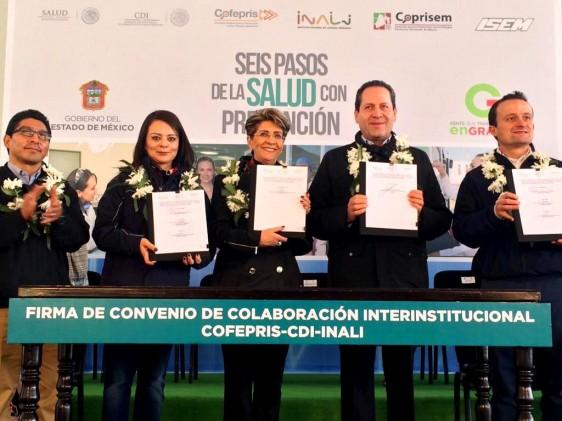 De izquierda a derecha Nuvia Mayorga, Mercedes Juan, Eruviel Ávila  y Mikel Arriola