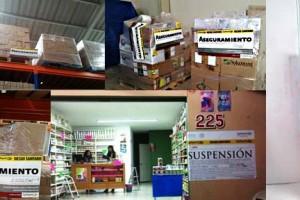Mosaico de imagenes de cajas y funcionarios en el decomiso
