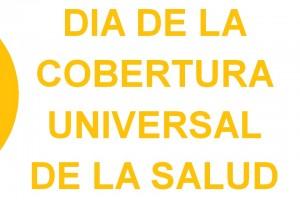 Logotipo en color amarillo y el texto Día de la Cobertura Universal de Salud