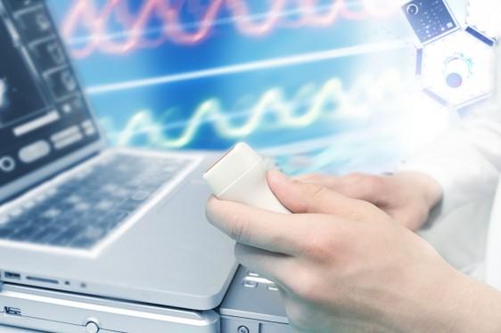 Acercamiento a la pantalla de un equipo de ultrasonido