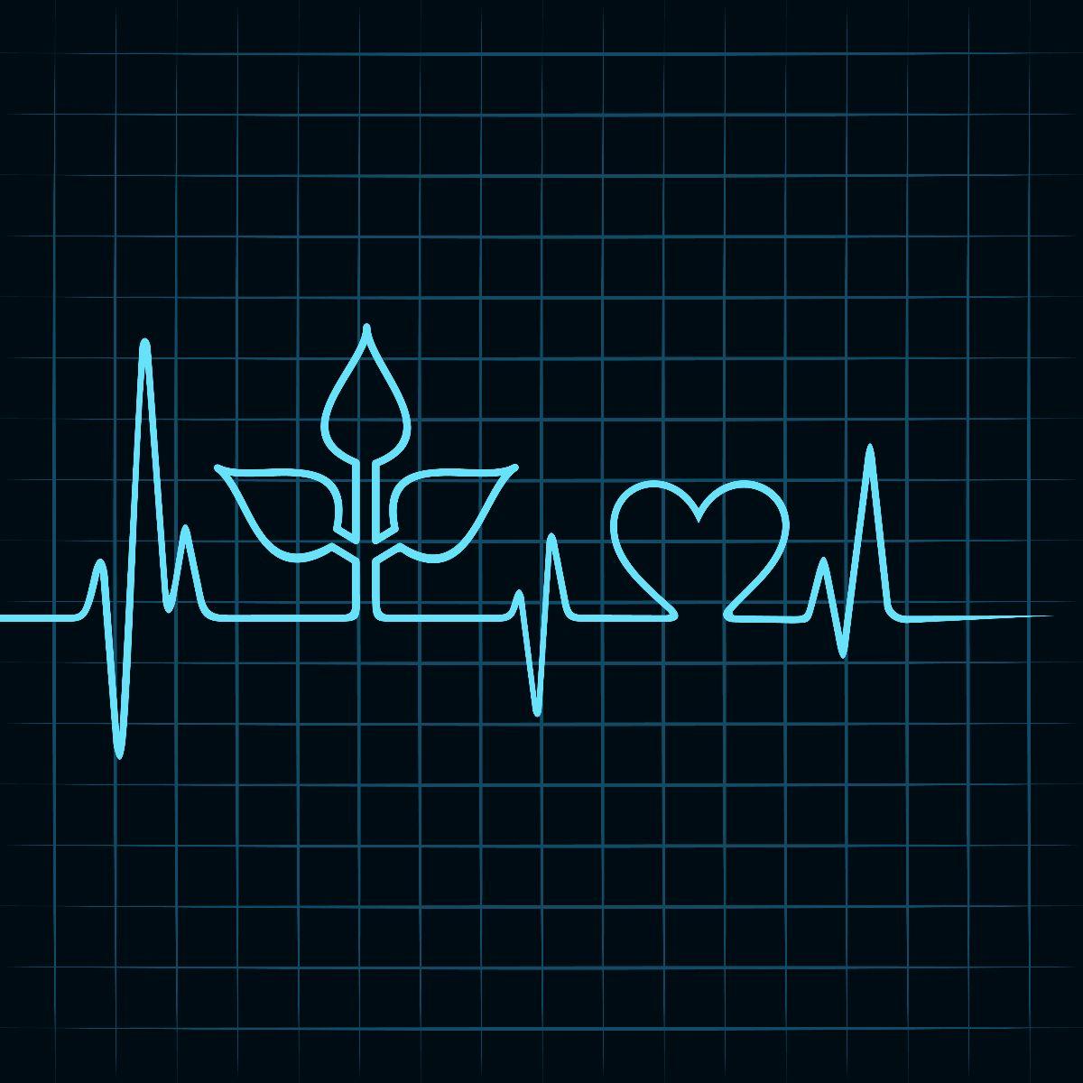 Electrocardigrama en forma de hoja y corazón
