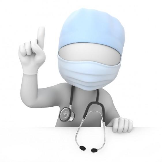 Ilustración 3D de un médico levantando la mano señalando hacia arriba