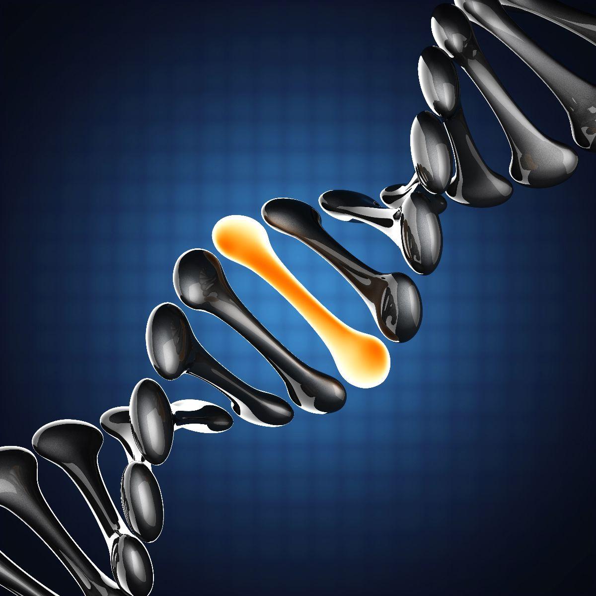 Ilustración de ADN con una cadena remarcada en color amarillo
