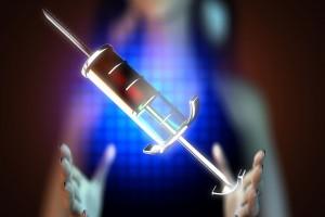 Ilustración de un holograma con una jeringa