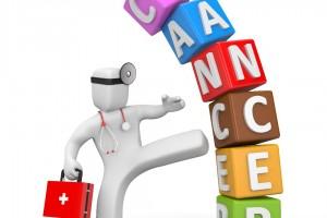 Ilustración de médico dando patada a cubos apiladios con la palabra CANCER