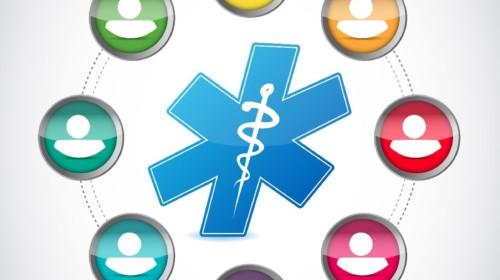 Ilustración de simbolo de salud al centro rodeado de iconos de personas de colores diferentes