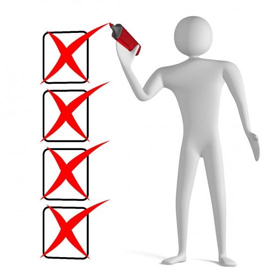 Ilustración de una persona tachando una lista