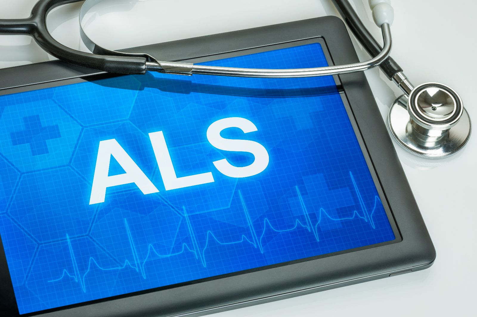 Computadora Tablet co la palabra ALS