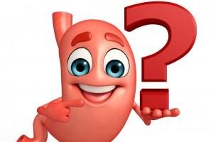 Ilustración de un estomago sosteniendo un signo de interrogación