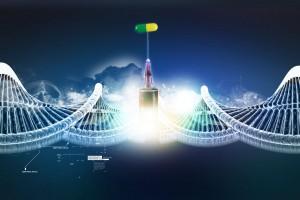 Medicamento con una jeringa atras una ilustracuón de cadena de ADN