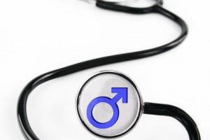 Estetoscopio con estetoscopio con simbolo de sexo masculino