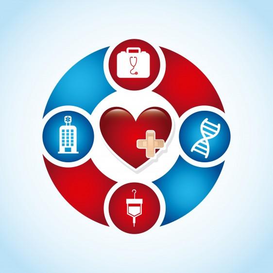 Ilustración un corazón en el centro rodeado de simbolos en circilo de ADN, hospital, sangre y notiquín médico