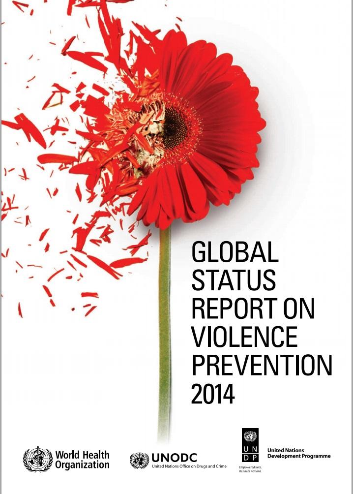 """Portada con una flor roja perdiendo pétalos y el texto """"GLOBAL STATUS REPORT ON VIOLENCE PREVENTION 2014"""""""