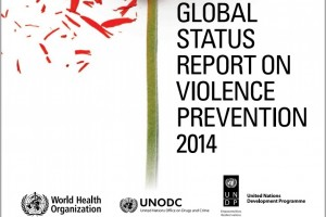 "Portada con una flor roja perdiendo pétalos y el texto ""GLOBAL STATUS REPORT ON VIOLENCE PREVENTION 2014"""