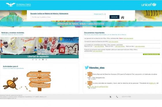 Página web del sitio buscador jurídico en materia de derechos de la infancia y adolescencia en México