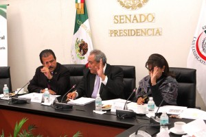 De izquierda a derecha Eviel Peréz Magaña, Fidel Demédicis Hidalgo y Luisa Maria Calderón