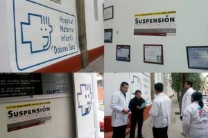 """Mosaico de imagenes del hopital con el sello de """"Suspensión"""""""
