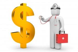 Ilustración 3D de un médico al lado de un signo de dinero