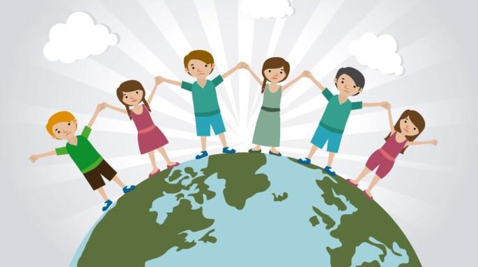 Ilustración de niños en el mundo dandose las manos
