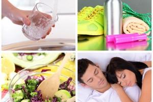 Mosiacio de imagenes de actividedes saludables, beber agua, ejercicio, comer salydable y dormir bien