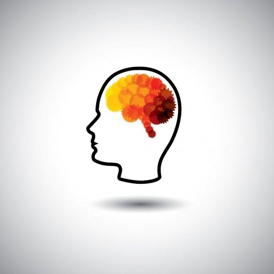 Ilustración de una cabeza con engranes