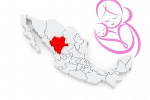 Ilustración del Estado de Durango con una madre abrazando a su bebé