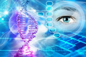 Ilustración de ADN humano y un ojo observando