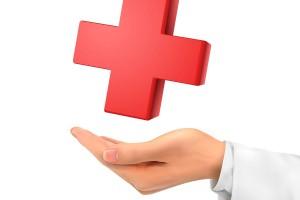 Ilustración 3D mano sosteniendo un símbolo médico