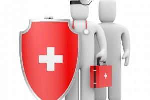 Ilustración 3D de un médico con un escudo al lado de un paciente