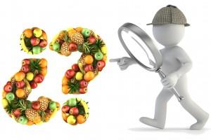 Icono de detective 3D copn lupa apunta a signos de interrogación hechos con frutas
