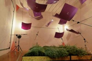 Jardinera vertical en el piso de un laboratorio acustico