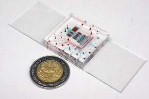 Microchip al lado de una moneda