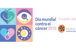 """Texto """"Día Mundial contra el Cáncer"""" y """"2015"""" con un logotipo"""