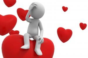 Imagen de 3D persona confundida sentada en corazones