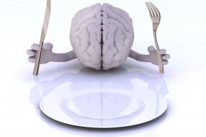 Ilustración de un cerebro con las manos y utensilios con un plato listo para comer