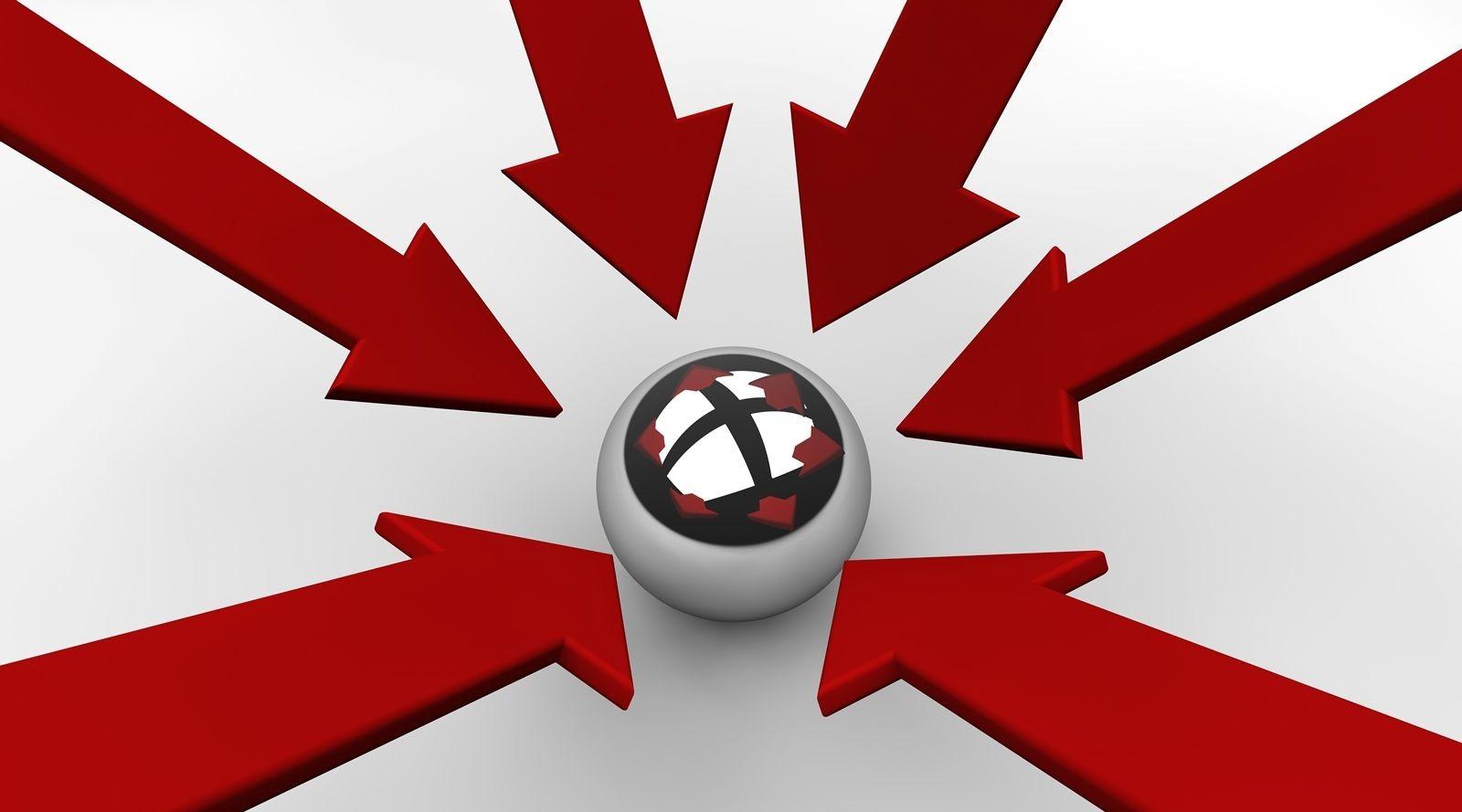 Flechas señalando a una esfera plateada