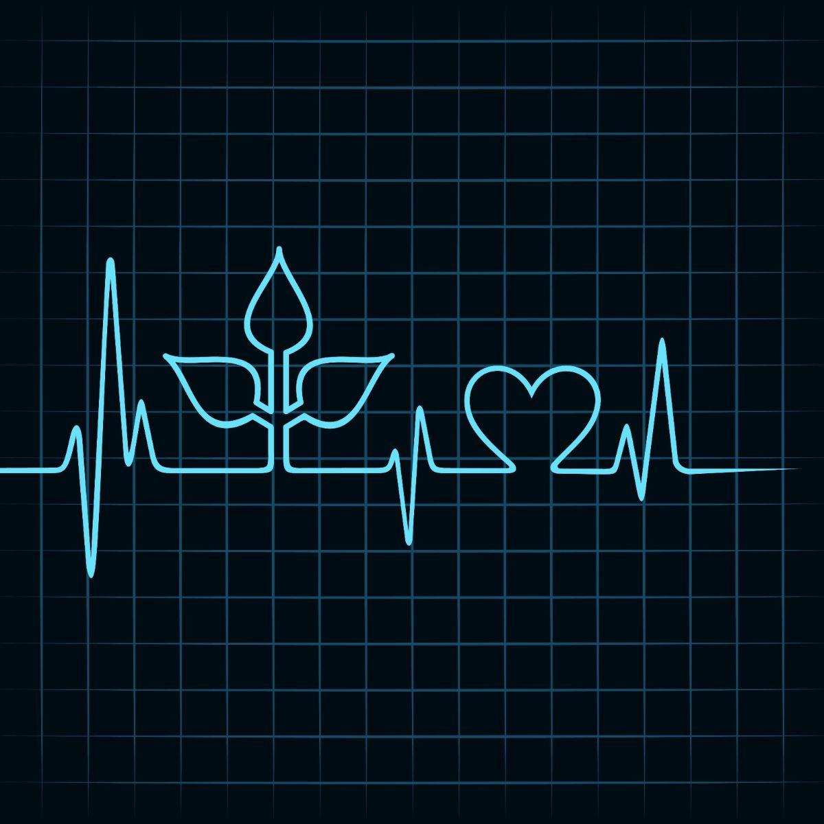 Ilustración de electrocardiograma con forma de planya y corazón