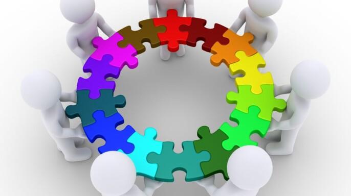 Ilustración 3D de persona uniendo un rimpecabezas de colores