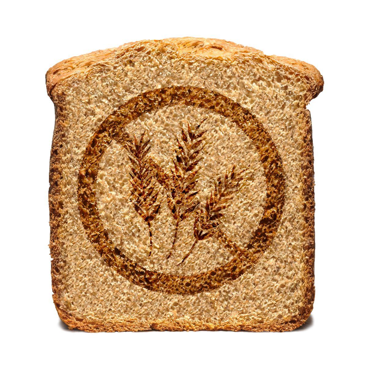 Rebanada de pan con simbolo de prohibido trigo