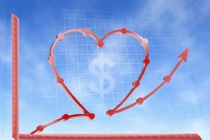 Ilustración de gráfica de lineas en ascenso con forma de corazón