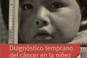 """Fotografía en blanco y negro de un ninó observando y el título """"Diagnóstico temprano del cáncer en la niñez"""""""